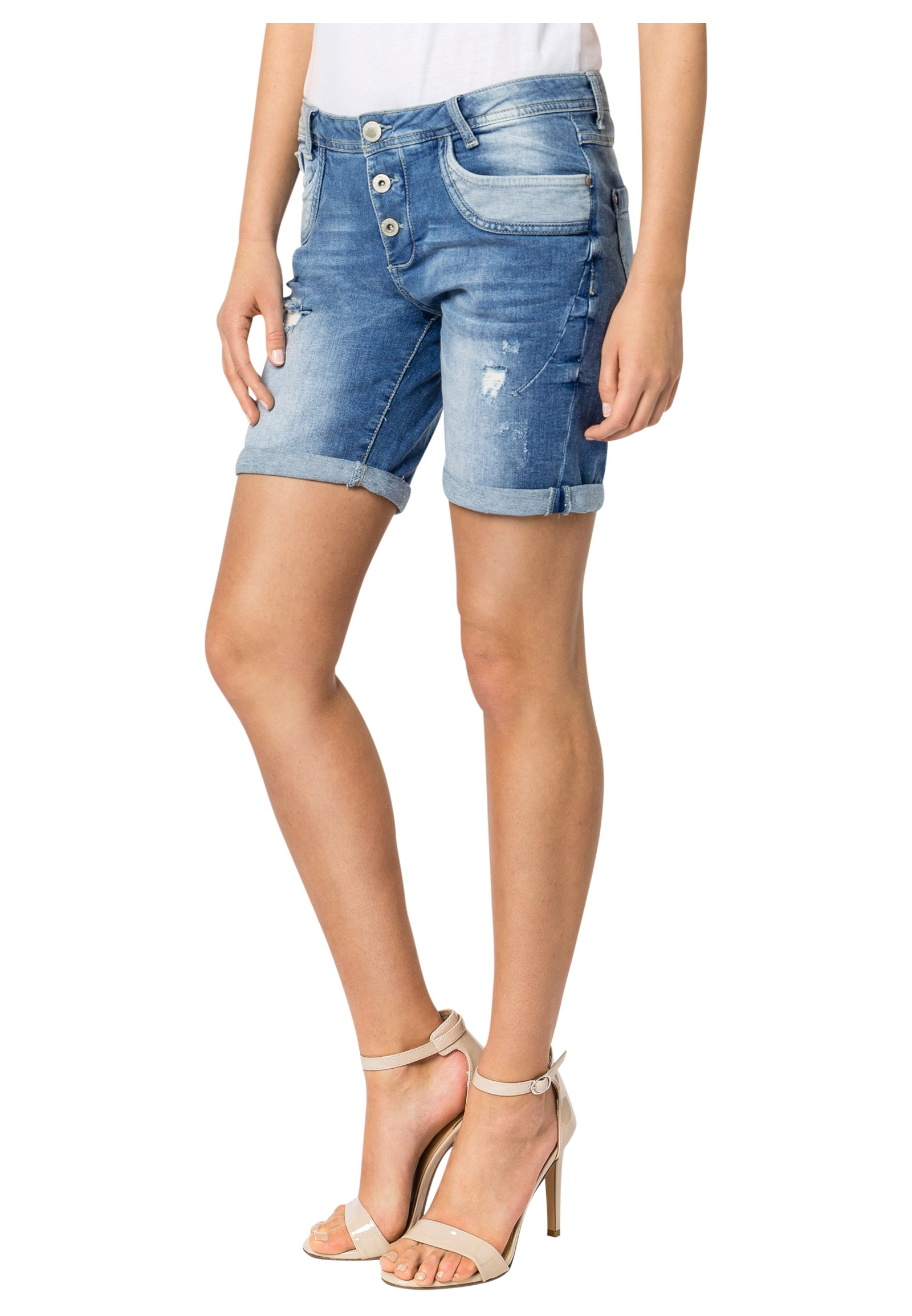 Sublevel Damen Shorts   Blaue Jeans Bermuda mit Destroyed Parts im  Boyfriend-Style Blue XS 777103e708