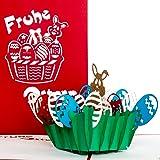 """Osterkarte""""Frohe Ostern"""" Hase im Osternest, Osterkarte mit Umschlag, Grußkarte zu Ostern, PopUp Karte, 3D Karte zum Ostergeschenk"""