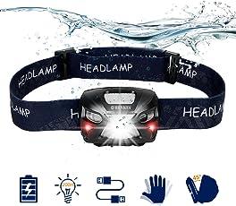 SHENKEY LED Stirnlampe Taschenlampe, USB wiederaufladbare Super Bright Scheinwerfer 300 Lumen, 6 Leuchtmodi, White & Red LEDs, wasserdichte Hard Hat Ligh Ideal für Camping, Laufen, Wandern und Lesen