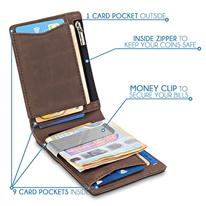 f3466a2c88787 TRAVANDO Geldbeutel Männer mit Geldklammer Sao Paulo Kartenetui Slim  Portemonnaie Wallet Portmonaise Herren Geldbörse Männer klein