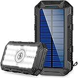 FKANT Power Bank Solar 26800mAh Batería Externa Solar con 4 Puertos 3 Salidas USB & QI Carga Inalámbrico Cargador Solar 28 Li