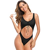 SHEKINI Donna Halter Sexy Un Pezzo Costume da Bagno Bikini Costumi Interi Back Criss Cross Side Straps Bandage…
