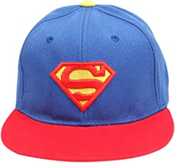 DRUNKEN Superman Embroidered Kid's Cotton Snapback Hip Hop Cap Blue and Red Freesize