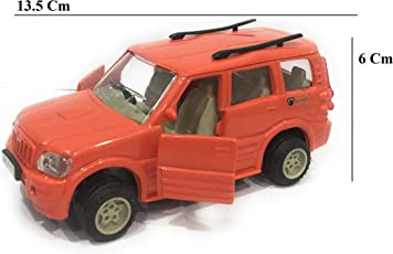 Shinsei Mahindra Scorpio SUV Car Pull Back Action (Door Openable) Miniature Toy (Red)