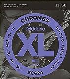 D'Addario Cordes à filet plat pour guitare électrique D'Addario Chromes ECG24, Jazz Light, 11-50