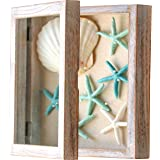 Shadow Box Frame 11 x 11, Shadow Box Display Case, 100% Wood, White Picture Frame with Linen Back, Front Loading Opening Glas