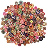 300 Pcs Mixed Round Wooden Buttons Colorful Retro Resin Buttons Crafting Buttons Wood Sewing Button Kids Doll Buttons…