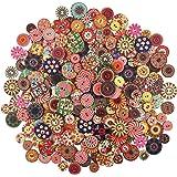 300 Pzs Colori Dipinte Bottoni Di Legno Rotonda Fai Da Te Per Cucito E Lavorazione Bottoni in legno rotondi misti Bottoni in