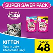 Whiskas Kitten Mix Selection in Gravy Wet Cat Food, Tuna in Jelly + Chicken in Gravy, 85 g (Pack of 48)