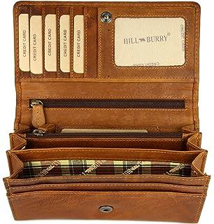 039f74d98d476 Hill Burry hochwertige Vintage Leder Damen Geldbörse Portemonnaie langes Portmonee  Geldbeutel aus weichem Leder in braun