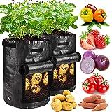 GIOVARA Bolsas de cultivo de patatas, 2 unidades de 7 galones, bolsas de cultivo de patatas con solapa y asas de correa para