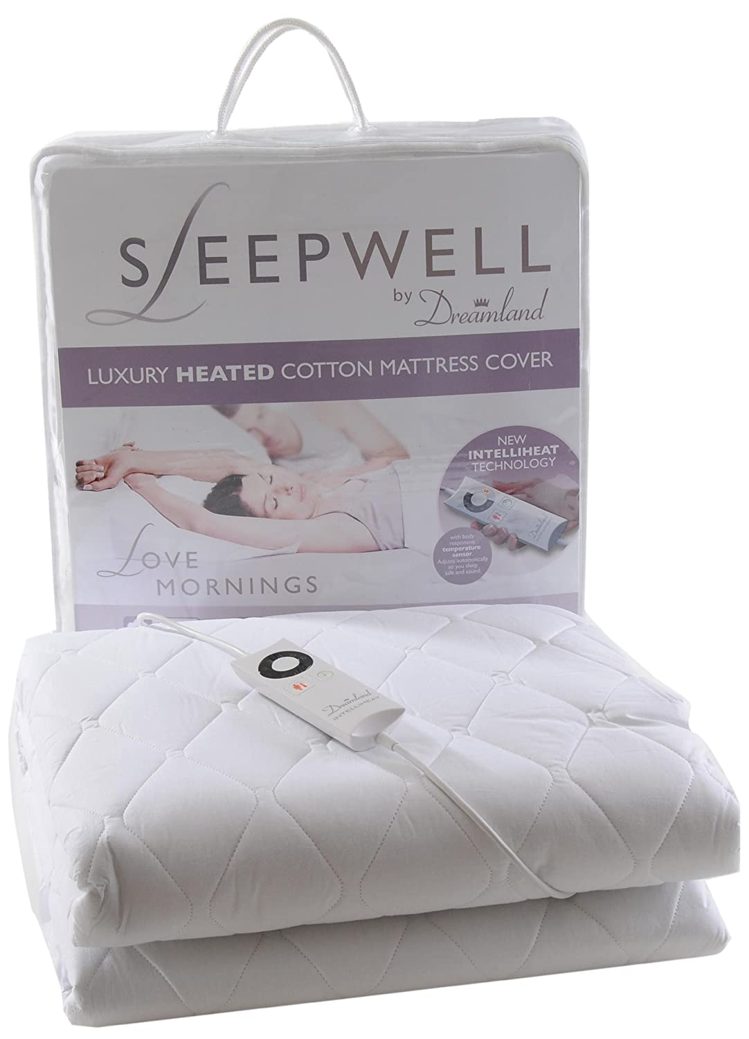 dreamland sleepwell single control heated pure cotton quilted fully fitted mattress cover amazoncouk kitchen u0026 home