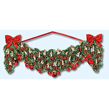 Coppenrath Victorian Christmas Garland Double Sided With Angels Traditional German Advent Calendar 68 Cm Wide X 30 Cm Glitter And Red Hanging Ribbon
