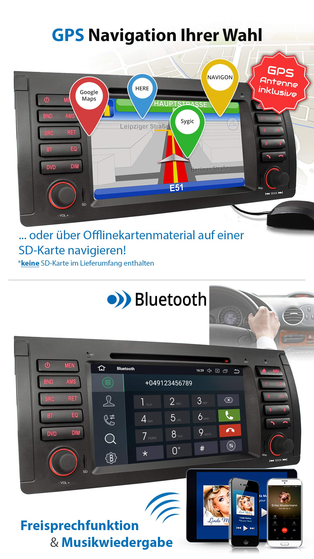 XOMAX-XM-71BA-Autoradio-mit-Android-81-passend-fr-BMW-E39-5er-M5-E53-X5-4Core-GPS-Navigation-DVD-CD-I-Support-WiFi-4G-DAB-OBD2-I-Bluetooth-7-Zoll18-cm-Touchscreen-USB-SD