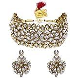 Zaveri Pearls Antique Gold Tone Mesmerising Choker Necklace Set For Women-ZPFK8925