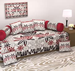 Ab Home Decor-Cotton Diwan Set(Content: 1 Single Bed Sheet, 5 Cushion Cover, 2 Bolster Cover, Total - 8 Pcs Set, Exclusive Design-Heavy Fabric)-Brown
