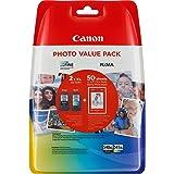 Canon PG-540XL/CL-541XL Cartuccia Originale Getto d'Inchiostro a Resa Elevata, 2 Pezzi, Nero/Colore + 50 Fogli di Carta Fotog