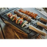 Grillrost.com Das Original Spiedini per grigliate in Acciaio Inox 3 Pezzi | Spiedini per Barbecue | Churrasco | Drehspieße