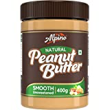 Alpino Natural Peanut Butter Smooth 400 G | Unsweetened | Made with 100% Roasted Peanuts | 30% Protein | No Added Sugar | No
