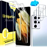 UniqueMe Beschermfolie, compatibel met Samsung Galaxy S21 Ultra 5G folie en camera, pantserglas, compatibel met Samsung S21 U
