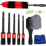 Hiveseen 9 Pcs Set de Cepillo Limpieza Coche, Juego de Pinceles de Detalle de Coche Suave con Cepillo de Llantas Aluminio par