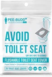 PeeBuddy Flushable and Disposable Paper Toilet Seat Covers to Avoid Direct Contact with Unhygienic Seats - 20 Seat Covers