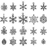 160 Pezzi Antichi Ciondolo Fiocco di Neve Argento Natale Fiocco di Neve Ciondoli Pendenti Gioielli Fabricazione Accessori per