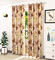 LaVichitra 2 Piece Premium Floral Curtains(All Sizes 5ft, 7ft, 9ft & Colors Brown, Blue, Maroon, Grey Available)
