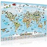 GOODS+GADGETS Panorama Weltkarte für Kinder XXL - 140x100cm Kinder-Weltkarte komplett handgezeichnet und koloriert (Deutsch)