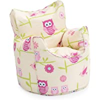 Ready Steady Bed Children's Bean Bag Chair Owls Design Ready Filled