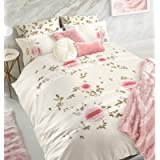 Intimates Double Bed Duvet/Quilt Cover Pink Floral Rosette Bedding Set