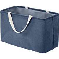 Amazon Basics Panier de rangement en tissu Grand rectangle Bleu marine