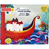 Camel Premium Poster Colour with Brush - 20 Shades (Multicolor)