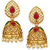 Spargz Gold Plated Brass and Ruby Jhumki Earrings for Women, Gold