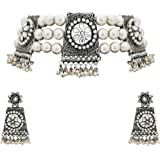 Matushri Art Indian Traditional Jewelry Silver Oxidize Antique Choker set For Womens And Girls