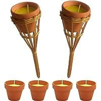 KIPPEN 6102 4er Set Citronella Moskitonetz mit 2 Bambusfackeln mehrfarbig