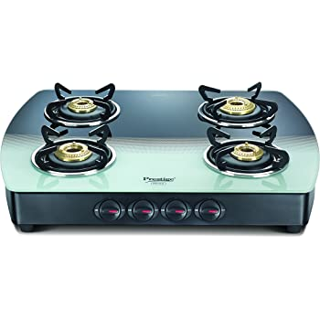Prestige Premia Glass 4 Burner Gas Stove, Black and White