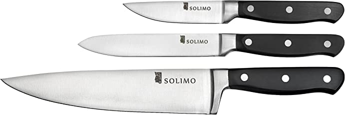 Amazon Brand - Solimo Premium High-Carbon Stainless Steel Kitchen Knife Set, 3-Pieces, Silver