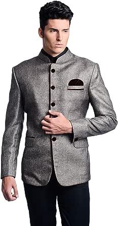 LUXURAZI Men's Royal Festive/Wedding Standing Neck Grey Blazer