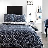 Today - Parure de lit Mawira 1.3 imprimé geometrik Bleu 240x220 cm - Coton - Bleu - Fantaisie - 57 Fils/cm²