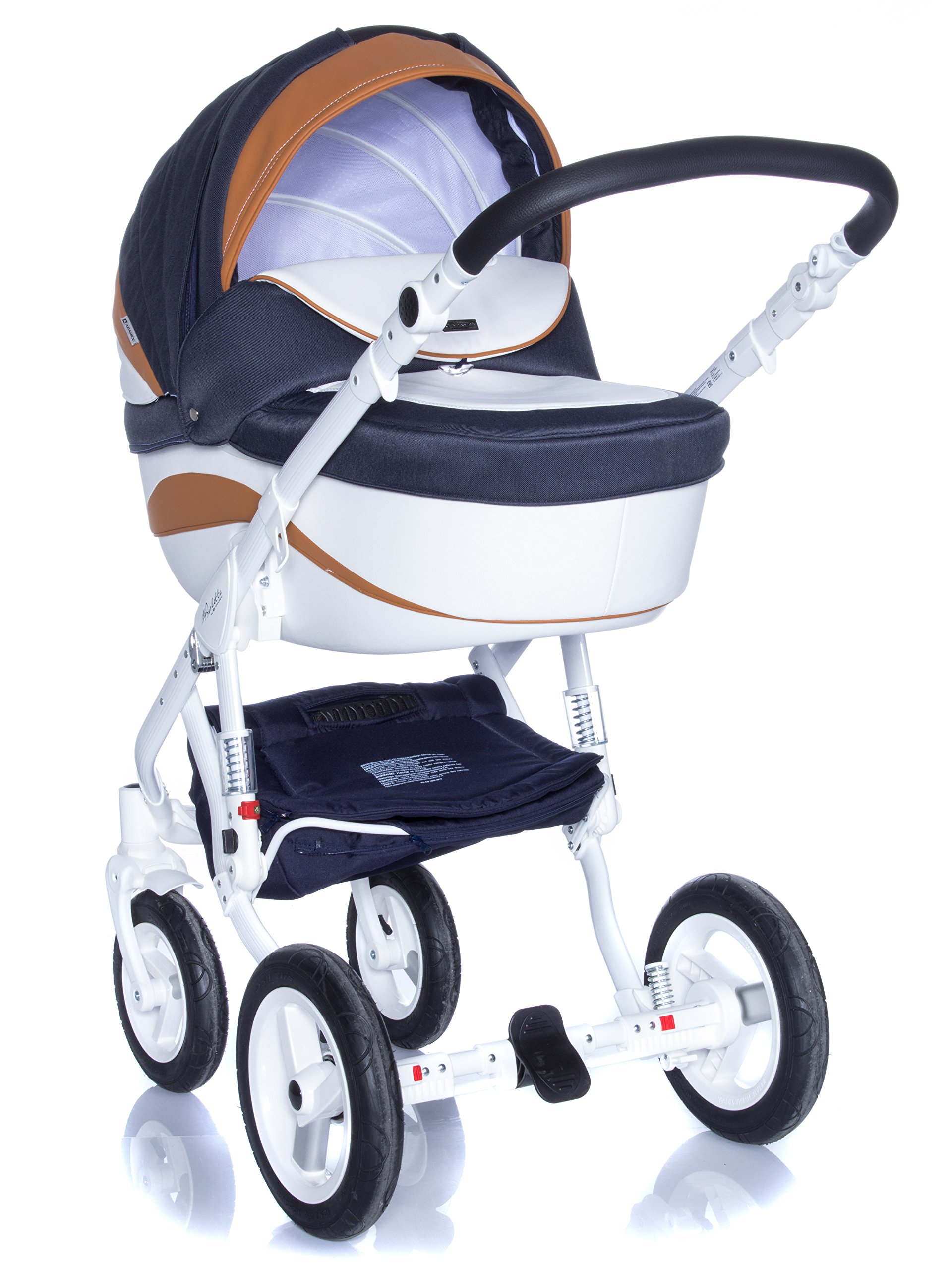 Baby Pram Pushchair Stroller Buggy, Travel System Adamex Barletta New B7 Fox-Navy-White 2in1 + ADAPTORS for CAR Seats: Maxi-COSI CYBEX KIDDY Be Safe Adamex Lockable swivel wheels and lockable side suspension system Light alluminium chassis with polyurethane wheels 2 separate modules + car seats adapters - big and deep baby tub functional sport seat and car seats adapters that can be attached to the following car seats: Maxi-Cosi: City, Cabrio fix, Pebble Cybex: Aton Kiddy: Evoluna i-Size, Evolution Pro 2 Be Safe: iZi Go 2