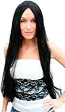 WIG ME UP ® - TH46-P103 Karneval Superlange schwarze Perücke, Scheitel, 80 cm