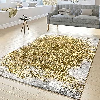 Entzuckend Tu0026T Design Designer Teppich Wohnzimmer Kurzflor Teppich Florale Ornamente Grau  Gold Gelb, Größe:80x150