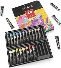 ARTEZA Premium Ölfarben Set — Hochwertige Künstlerfarben — 24x12 Ml Farbtuben mit Verschiedenen Ölmalfarben