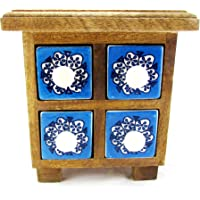 Hiba Enterprises Wooden Chest with Ceramic Box Drawer Natural Colour Spices Rack