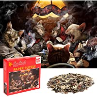 HshDUti 500 Pieces Cat Playing Cards Game Puzzle Pieces Jigsaw Puzzles DIY Assembly Learning Toy for Adults Children