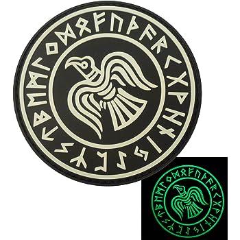 Glow Dark Rare Norse Viking Raven Runes Odin God of War Morale PVC Gomme 3D Attache-boucle Écusson Patch
