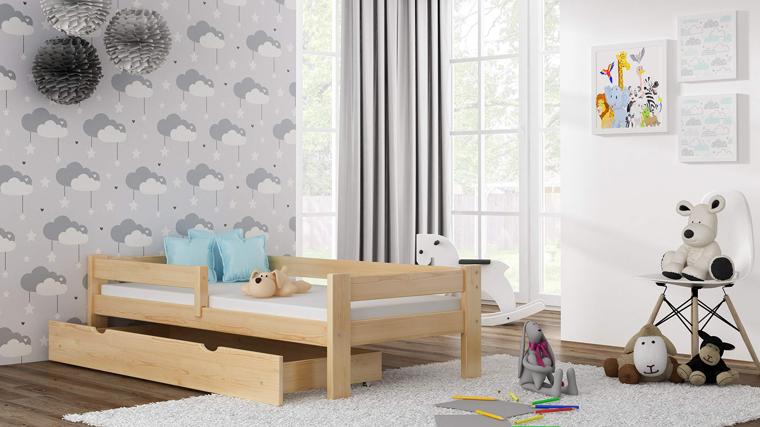 Children's Beds Home Solid Pine Wood Single Bed - Willow comes with Drawers and Foam Mattress Included (190x90, Natural) Children's Beds Home Internal Dimensions in cm's are 140x70, 160x80, 180x80, 180x90, 190x90, 200x90 (External: 147x78, 167x88, 187x88, 187x98, 197x98, 207x98) Total height up to the top of the safety barrier is 51cm Universal bed entrance - left or right side. Front barrier can also be removed at a later stage. Bed Frame has load capacity of up to 190kg 2