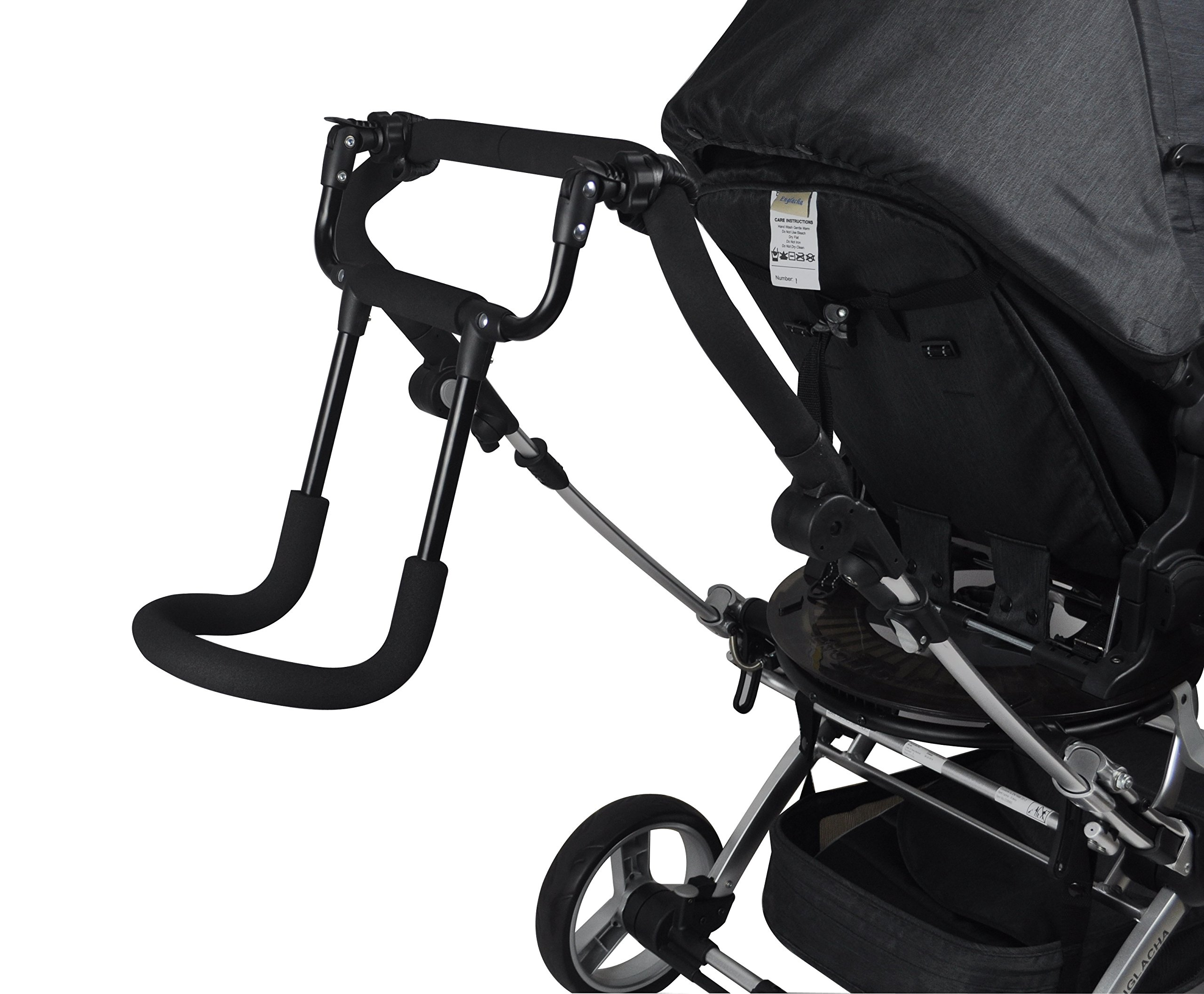 Englacha Cozy Stroll Handle Extension Bar, Black Englacha USA Universal lightweight handle extension bar (aluminum tube) can be installed on any buggy, stroller or pram without extra tools required Allows you control your stroller with just one hand and multitask with your free hand Increases extra at least 12-15 cm space for walking in the back of stroller 4