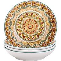 vancasso, Série Mandala, Assiette Creuse en Porcelaine 4 pièces, Assiette à Soupe Pâte, 21cm, 700ml- Style Royal…